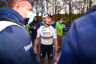 Julian Alaphilippe of Team Deceuninck - QuickStep in World Champion Jersey shows disappointment during the 106th Liege - Bastogne - Liege 2020 (Getty Images)