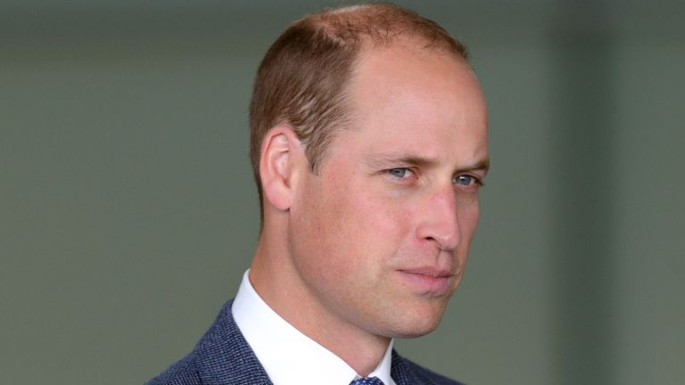 Prince William looks sad as he poses for the camera