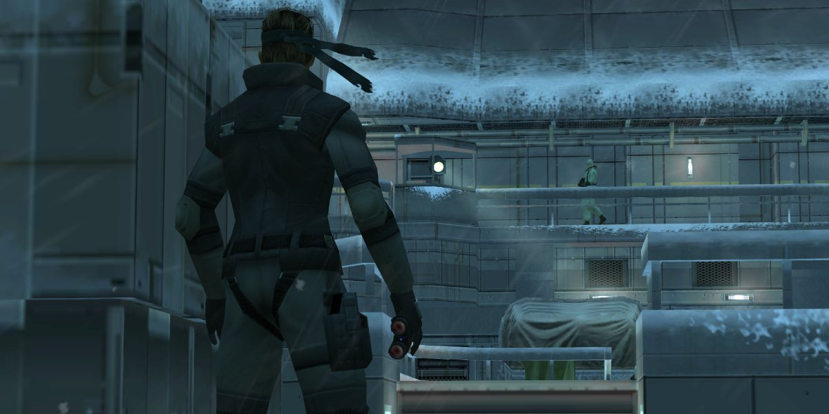 Solid Snake entering Shadow Moses in Metal Gear Solid: Twin Snakes