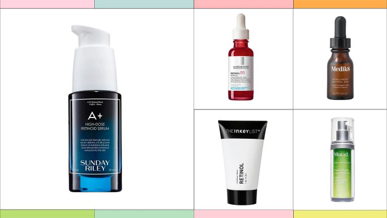 A selection of the best retinol serums is pictured from Sunday Riley / La Roche Posay / Medik8 / The Inkey List / Murad