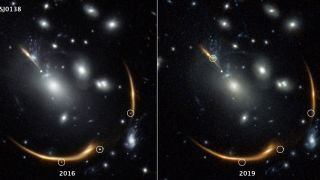 Three bright dots capturing the same event were observed in Hubble Space Telescope images in 2016 but disappeared by 2019.