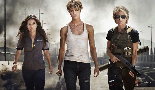 Terminator: Dark Fate Dani, Grace, and Sarah walking towards the camera, away from carnage