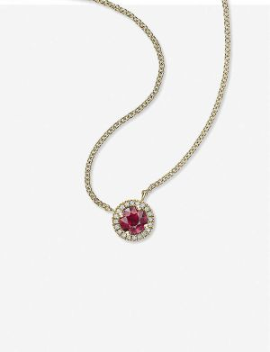 Halo 0.3ct ruby and 18k yellow-gold pendant necklace