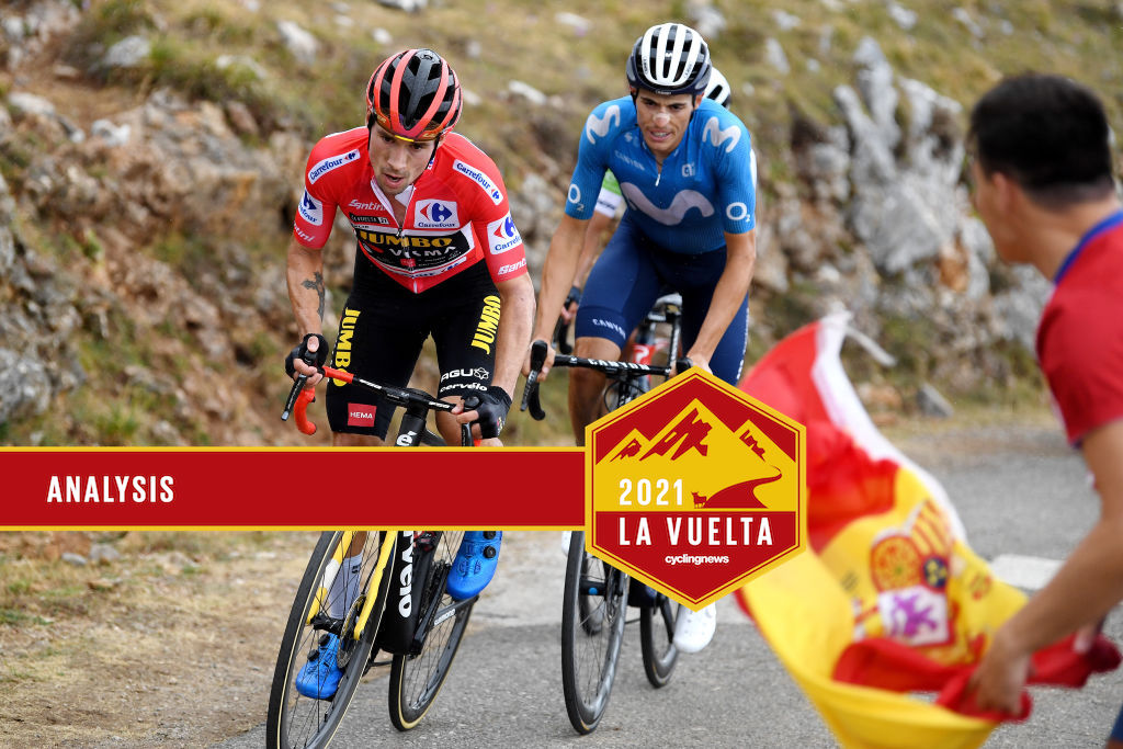 ALTU D'EL GAMONITEIRU, SPAIN - SEPTEMBER 02: Primoz Roglic of Slovenia and Team Jumbo - Visma red leader jersey attacks in the breakaway during the 76th Tour of Spain 2021, Stage 18 a 162,6km stage from Salas to Altu d'El Gamoniteiru 1770m / @lavuelta / #LaVuelta21 / on September 02, 2021 in Altu d'El Gamoniteiru, Spain. (Photo by Tim de Waele/Getty Images)