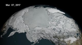 On March 7, 2017, Arctic sea ice hit a record low wintertime maximum extent for the year.