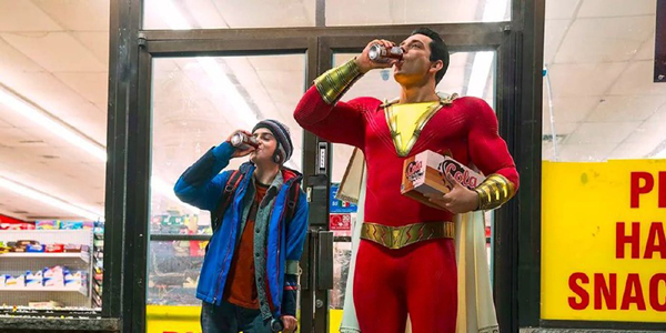 Asher Angel as Billy Batson and Zachary Levi as Shazam in the DC movie Shazam