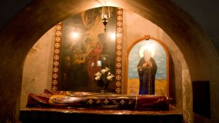 The texts describing the wizard battle are from the Monastery of Saint Macarius the Great in Egypt. This image shows the shrine of St. Macarius in the monastery.
