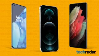 A variety of the best smartphones including the OnePlus 9 Pro, iPhone 12 Pro and Samsung Galaxy S21 Ultra