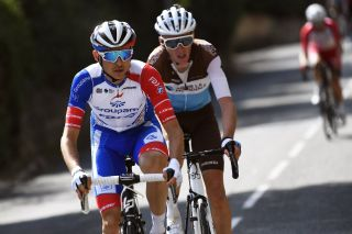 Groupama-FDJ's Rudy Molard leads Romain Bardet (AG2R La Mondiale) on stage 7 of the 2020 Paris-Nice