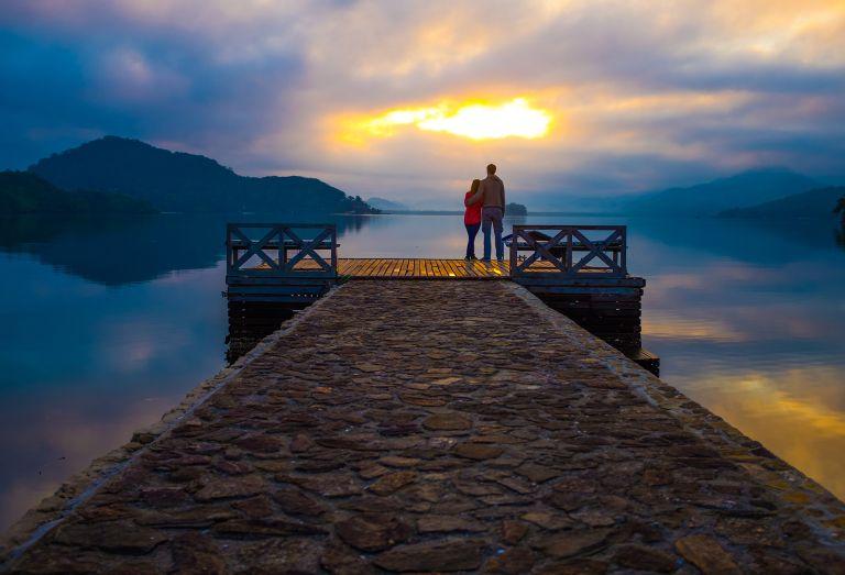 Romantic scene couple travel
