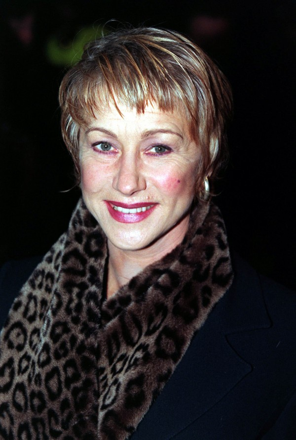 Helen Mirren in a leopard print coat in 1998