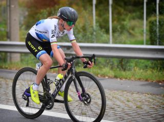 European road race champion Annemiek van Vleuten (Mitchelton-Scott) at the 2020 Tour of Flanders