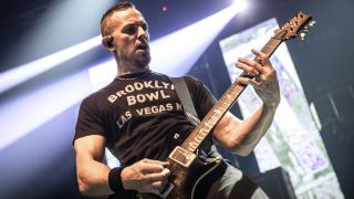 Oslo, Norway. 17th, November 2019. The American hard rock band Alter Bridge performs a live concert at Sentrum Scene in Oslo. Here guitarist Mark Tremonti is seen live on stage.