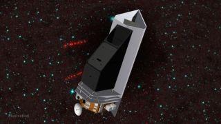Artist's illustration of NASA's asteroid-hunting NEO Surveyor spacecraft in space.