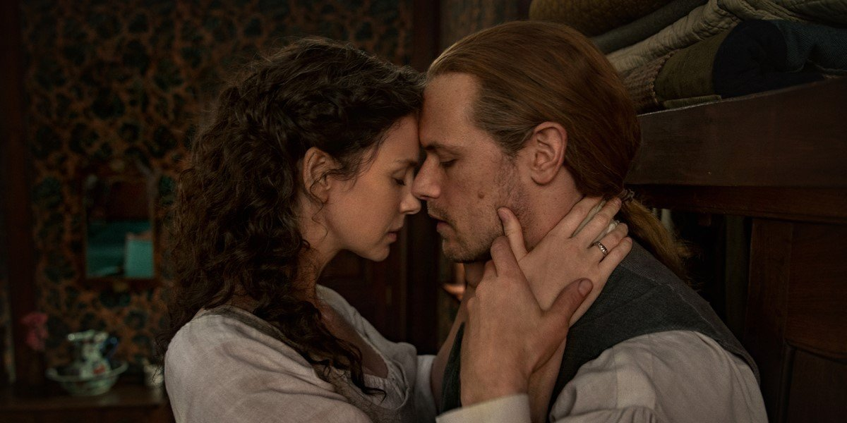 claire and jamie looking lovingly at each other in Outlander Season 6