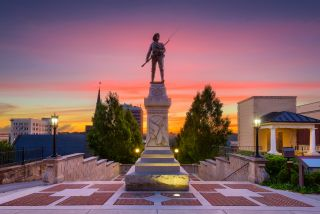 an image of a statue on Monument Terrace, Lynchburg, VA