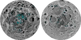 This image shows the distribution of surface ice at the moon's south pole (left) and north pole (right), as detected by NASA's Moon Mineralogy Mapper instrument, which flew aboard India's Chandrayaan-1 spacecraft.