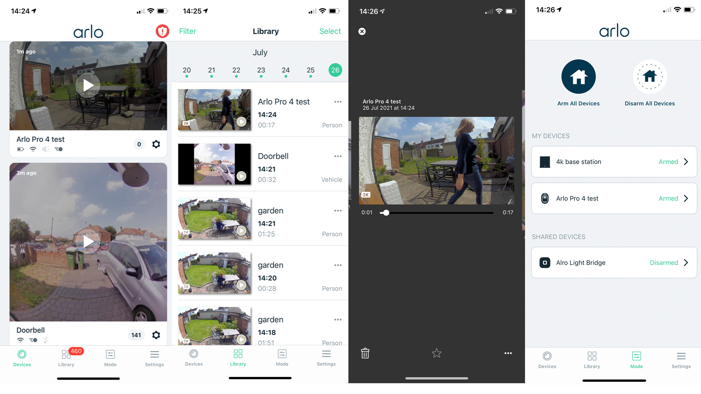 The app used to control the Arlo Pro 4