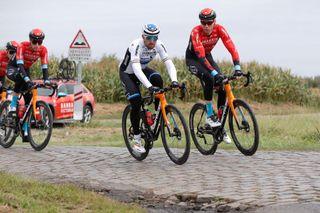 Sonny Colbrelli rides the cobbles with Bahrain Victorious teammate Marcel Sieberg ahead of Paris-Roubaix