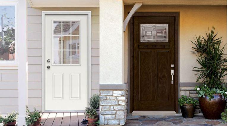 White steel door vs. wooden effect fiberglass doors