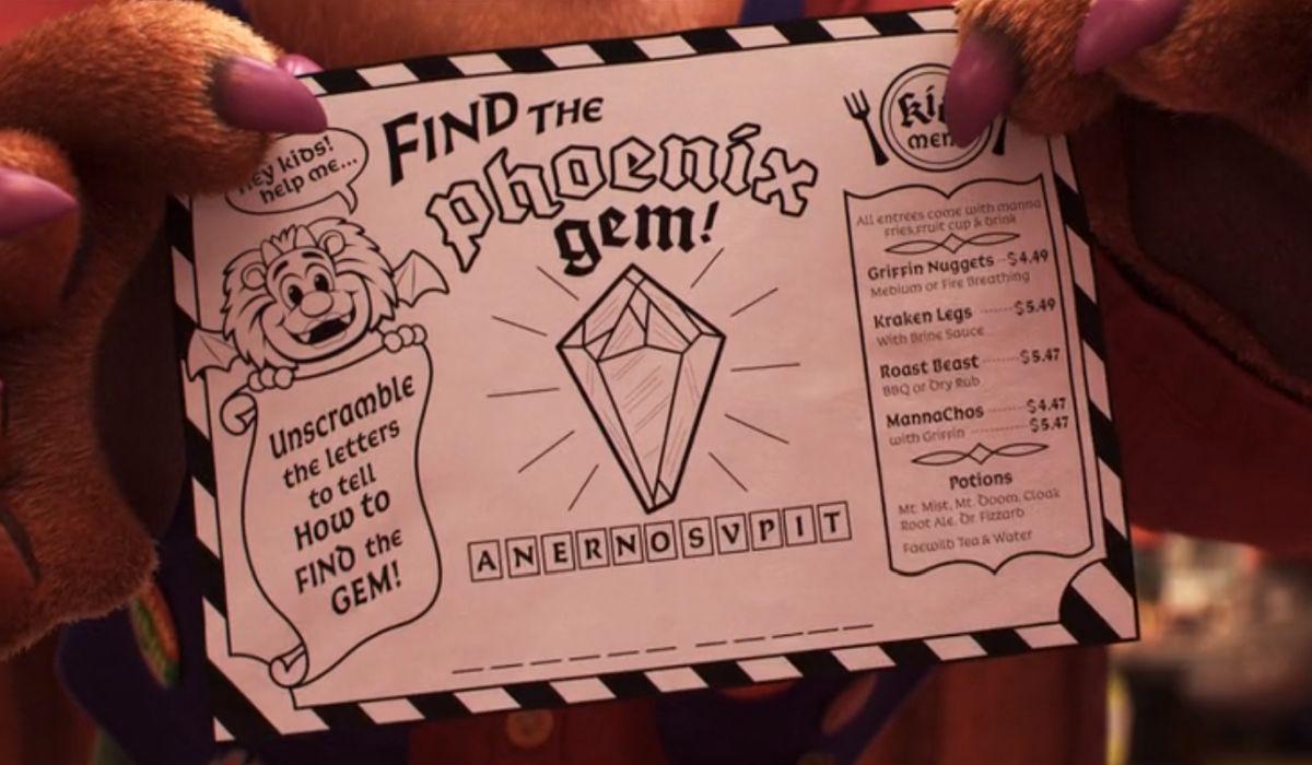 Onward's children's menu