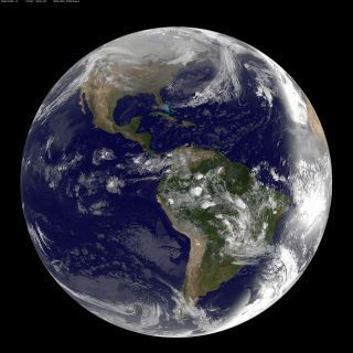 NASA / NOAA GOES-13 satellite image showing earth on March 2, 2010 at 8:45 UTC.