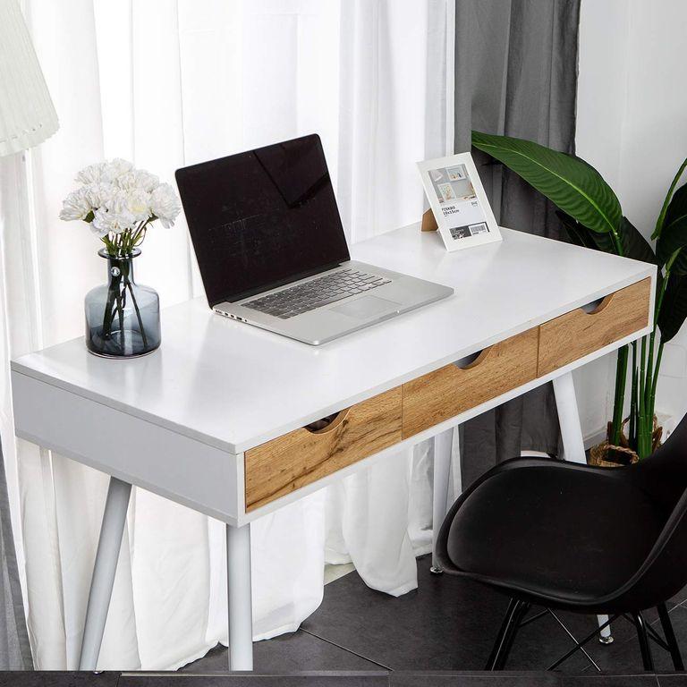 WFH: DlandHome 43 Inches Home Desk with 3-Drawers, Modern Office Computer Desk Workstation, Writing Desk with Spacious Desktop, Bedroom Dresser Table
