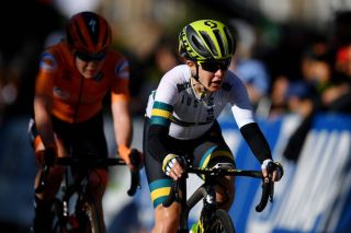 Australia's Amanda Spratt races to the bronze medal in the elite women's road race at the 2019 World Championships in Yorkshire