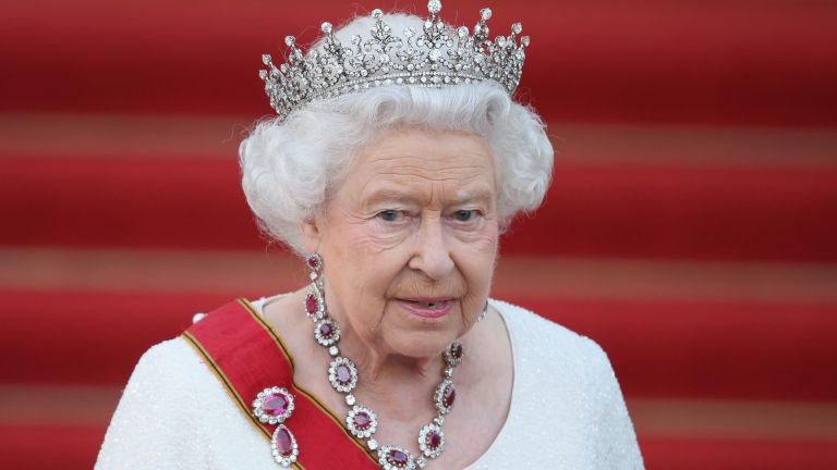 Queen Elizabeth II arrives for the state banquet in her honour at Schloss Bellevue palace on the second of the royal couple's four-day visit to Germany on June 24, 2015 in Berlin, Germany.