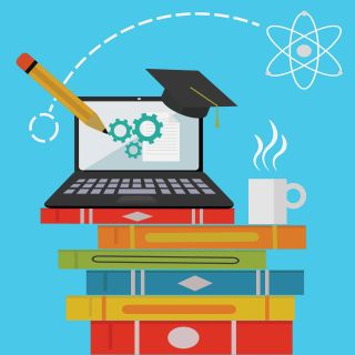Online learning illustration of laptop computer on stack of books