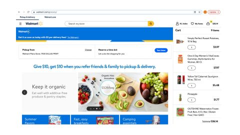 Walmart Grocery review: Image shows the website's homepage.