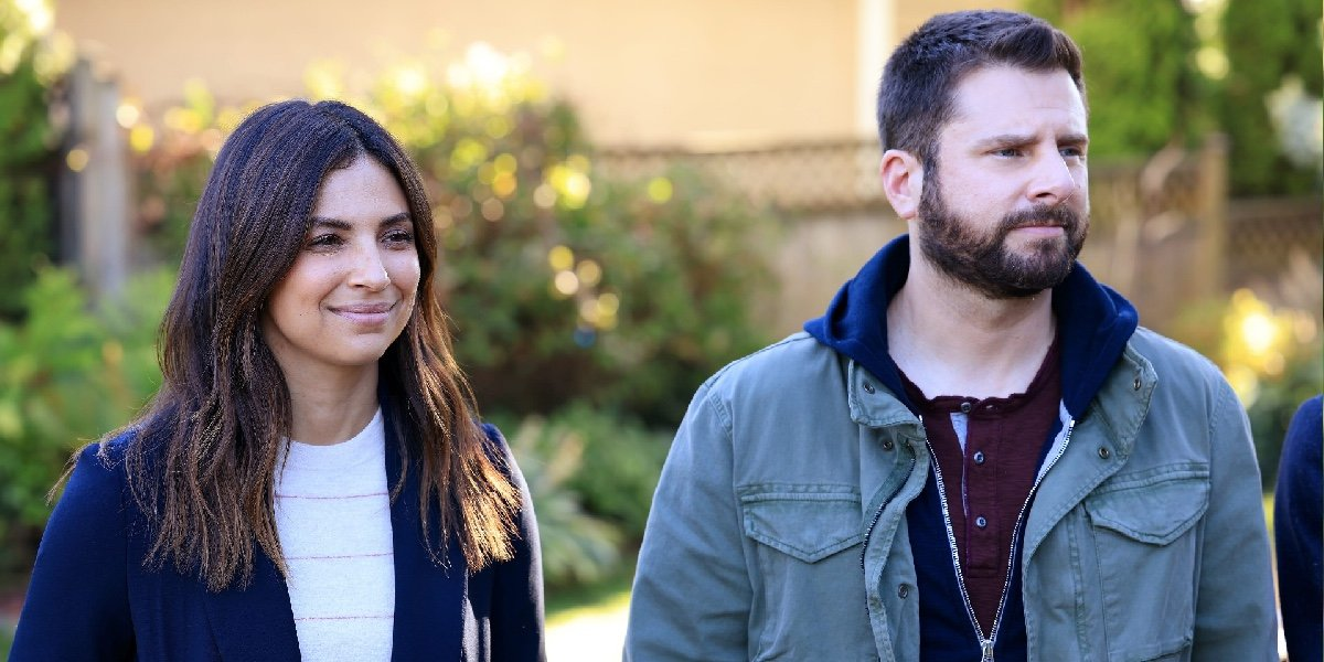 Floriana Lima as Darcy Cooper and James Roday Rodriguez as Gary Mendez in A Million Little Things.
