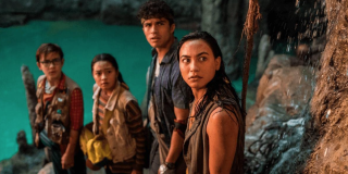 the cast of Finding Ohana in the caves