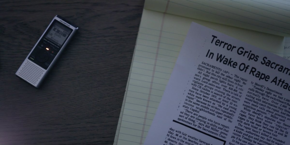 Voice recorder and newspaper clipping from I'll Be Gone in the Dark