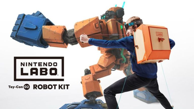 Child with Nintendo Labo gaming backpack