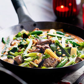 Spicy Thai lamb red curry dinner tonight