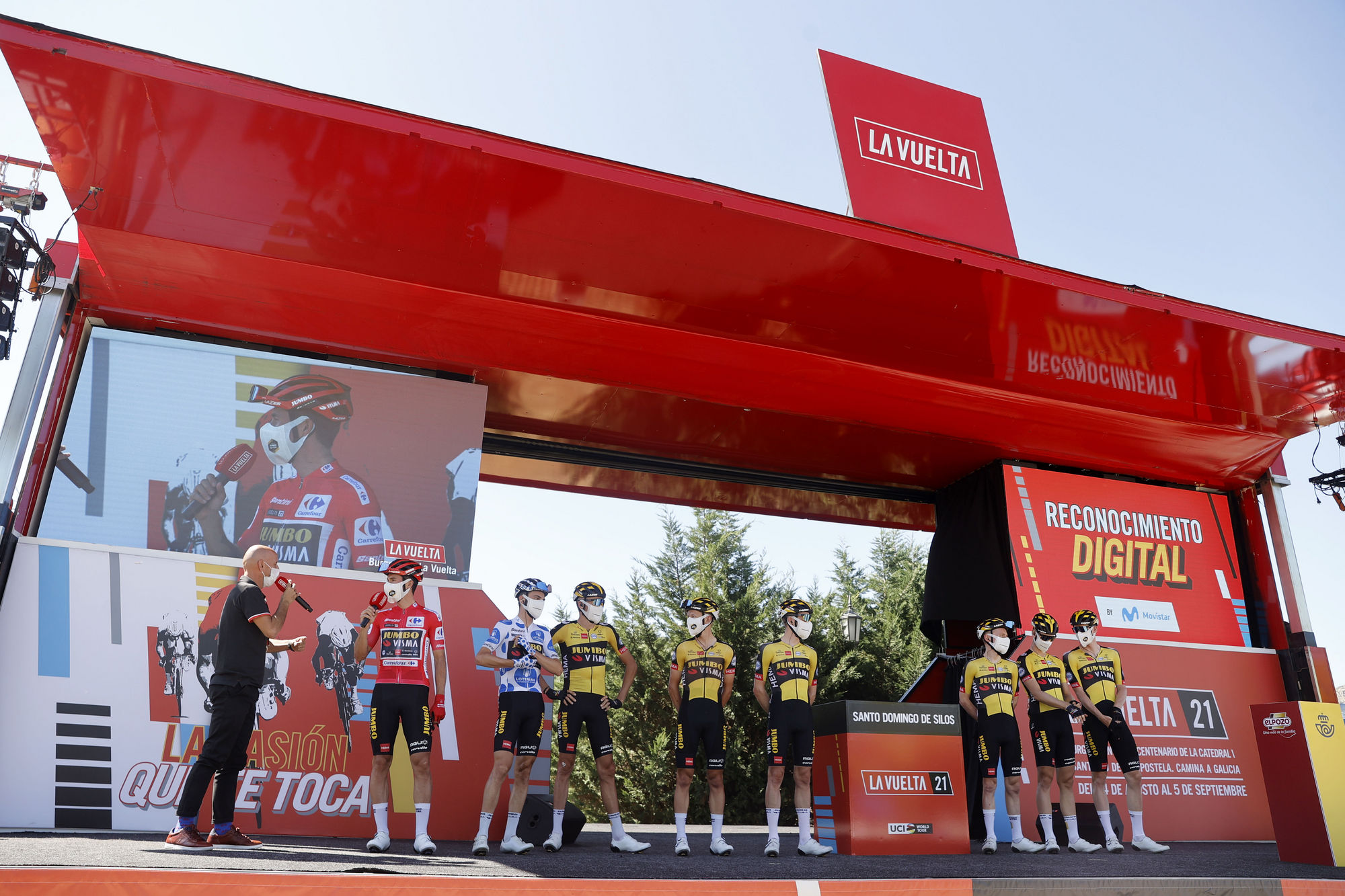 Jumbo-Visma on the podium before stage 3 of the Vuelta a Espana