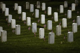 Memorial Day flags mark Arlington military graves.