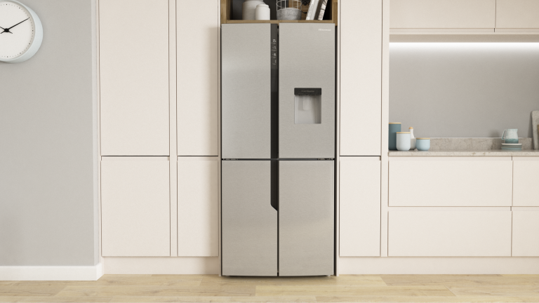 A kitchen featuring the Hisense American Fridge Freezer with Total No Frost technology.