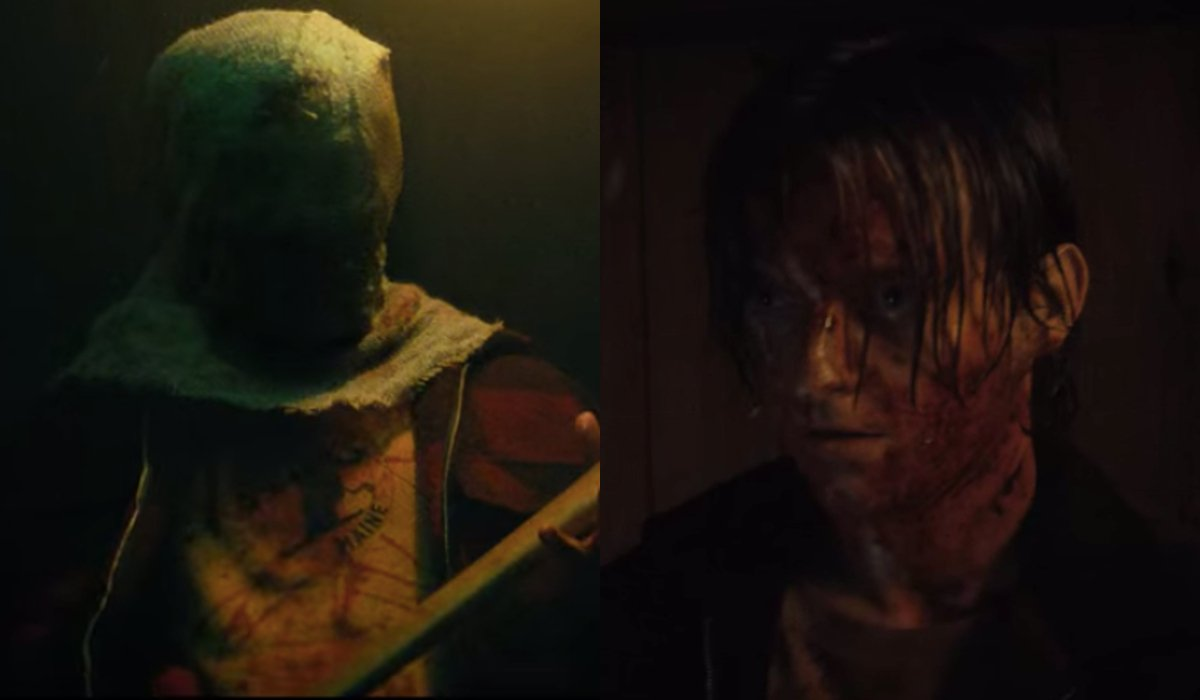 The Nightwing Killer and Tommy Slater, pictured side by side, in Fear Street: Part 2 - 1978