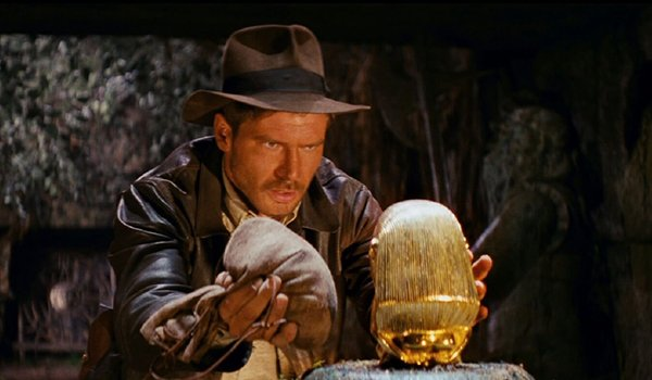 Harrison Ford goes for the relic at the beginning of Raiders Of The Lost Ark