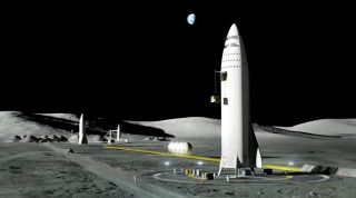 SpaceX BFR Ships on the Moon