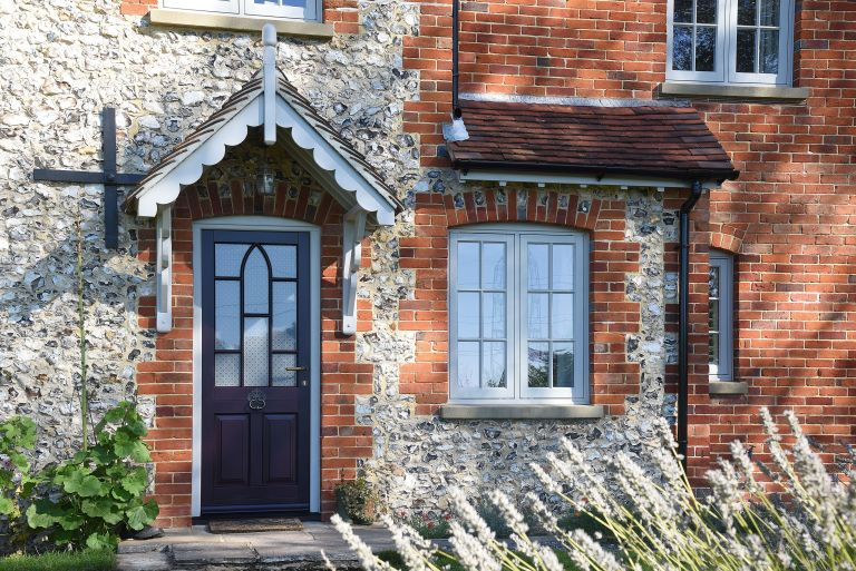 Traditional front door on characterful period home provided by Timber Windows