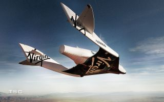 Suborbital SpaceShipTwo Glides over Mojave Spaceport