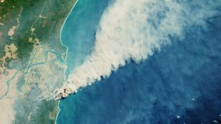 Australian wildfires burning in the Yuraygir National Park and Shark Creek area are visible in this image captured on September 8, 2019 by ESA's Copernicus Sentinel-2 mission