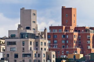 Apartment buildings in Manhattan, New York City.
