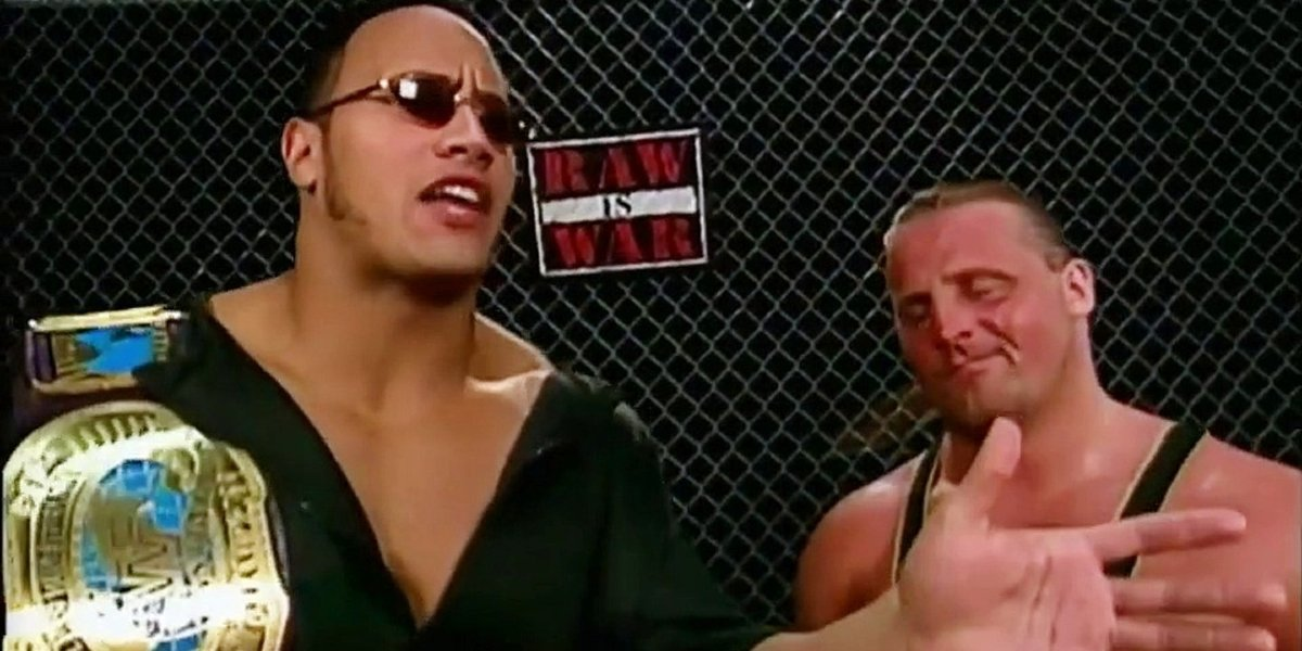 The Rock and Owen Hart on Raw Is War