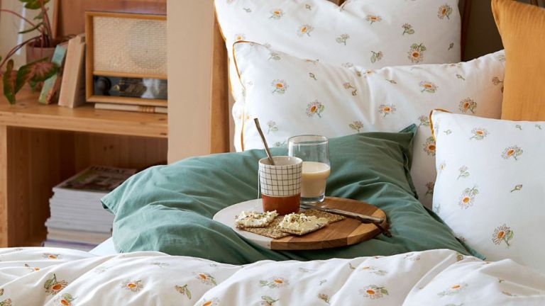 La Redoute home best buys: La Redoute bedding on bed with breakfast