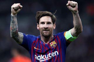 Barcelona's Lionel Messi celebrates scoring a goal against Tottenham in the Champions League