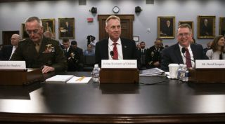 Chairman of the Joint Chiefs of Staff Marine Corps Gen. Joseph F. Dunford Jr., U.S. Acting Secretary of Defense Patrick M. Shanahan, and Under Secretary of Defense (Comptroller)/Chief Financial Office David L. Norquist provide testimony on the fiscal 2020 Department of Defense budget before the House Appropriations Subcommittee on Defense.